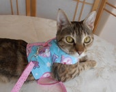 Cat Harness, Teacup Dog Clothes,  Leash,  Pet Vest Aqua Hot Pink  Little Devil
