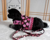 Polka Dot Small Dog Harness, Matching Leash, Reversible Brown Pink Pet Harness