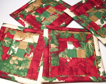 "4.5"" Log Cabin Quilt Block Fabric Indoor/Outdoor/Picnic Coasters/Mug Mats - 4 piece set"