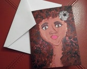 Notecards - Set of 6 -African American Girl Natural Hair Greeting Card