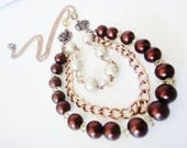Victorian Necklace, Chocolate Pearl Necklace, Multiple Strand Necklace.