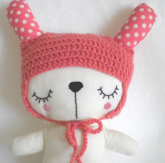 CUSTOM LISTING - Handmade soft bunny toy with a crocheted hat