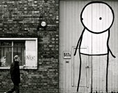 Street Art Photography - Stik- Black and White - London, England - 8 x 10 Print
