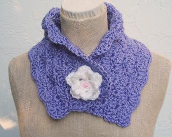 Purple neckwarmer with Flower