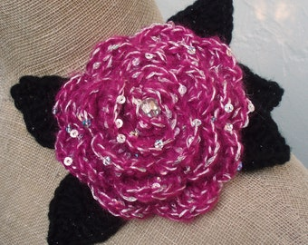 Flower with Sequins and Crystal