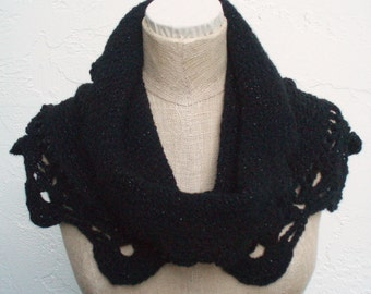 Cowl or Hoodie in Black that Glistens (MARK DOWN)