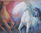 Wild Horses Original art Acrylic painting Print Gift