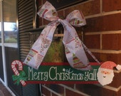 """Hand-painted """"Merry Christmas Y'all"""" Wooden Sign"""