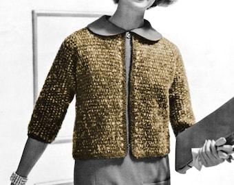 1950s Three Quarter Sleeve Cardigan Sweater - Knit pattern PDF 0858