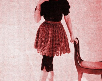 1950s Shell Stitch Skirt in Long and Short Lengths, Scalloped Hem - Crochet pattern PDF 5411