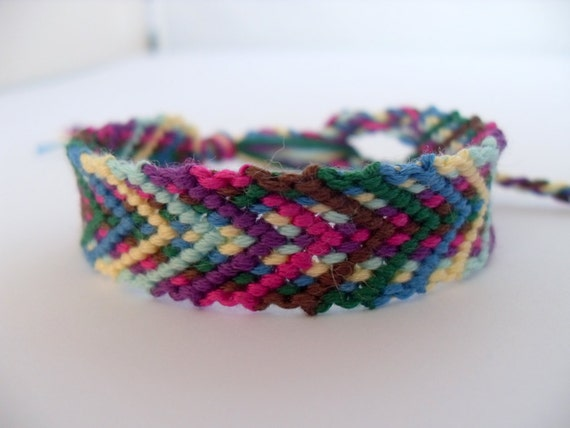 Colorful Friendship Bracelet - Green, Blue, Yellow, Fusia, Brown
