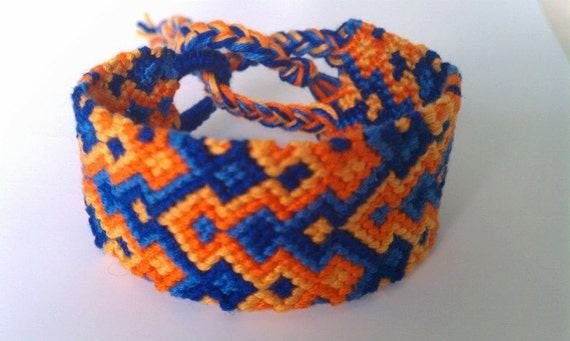 Blues and Oranges - Thick Friendship Bracelet - Cuff - Ready to ship