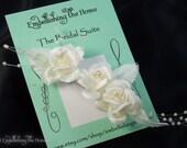 Fascinator-Small Triple White Rose Wedding Hair Accessory