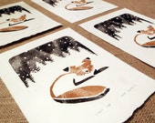Snowy Fox Woodcut