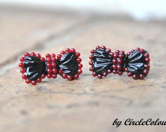 SALE 10% off - BOW Earrings - Cute Black & Red Petite Bow Stud Earrings
