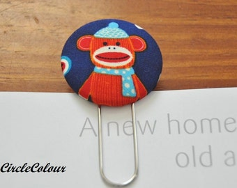 Sock Monkey Bookmark - Winter Sock Monkey Fabric Covered Button Bookmark - Giant Silver Paper Clip