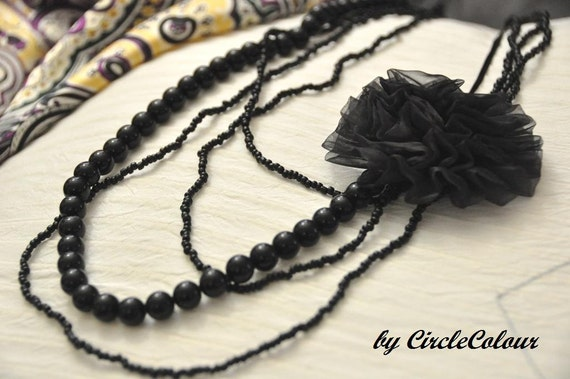 4 Layers Black Beaded Long Necklace with Fabric Flower - Black Pearl - Fabric Flower Brooch