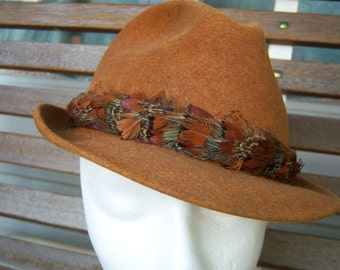 "1940s Dobbs Fifth Avenue Game Bird Pheasant Fedora Size 7 // Wool Felt // Stingy Brim // 22"" Circumference"