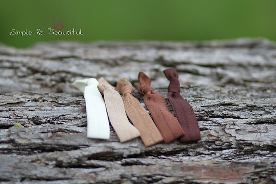 Brown collection, set of 5 hair ties