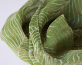 Green Spring Scarf - Light, soft and sheer printed scarf - feathers pattern