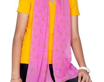 Spring Scarf - Long Printed Semi Chiffon  - Upcycled Sari Scarf from India - Fuchsia Pink