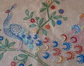 peacock embroidered French linen cloth