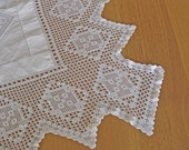 antique crochet lace and linen square cloth monogram