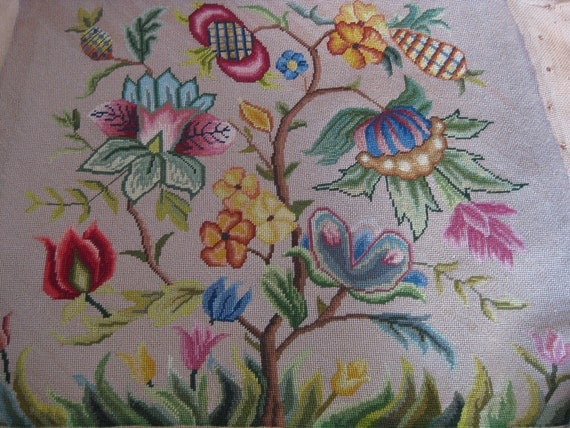 canvaswork Jacobean style floral seat cover