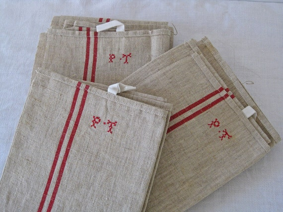 set of French tea towels monogrammed