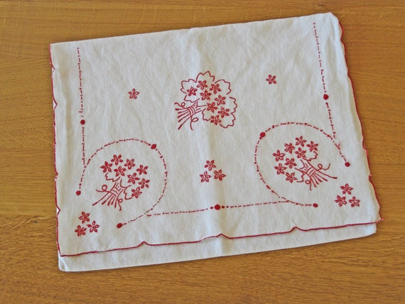 French lingerie case white linen with red embroidery