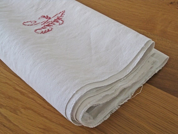 French linen fabric for reworking early 1900s monogram