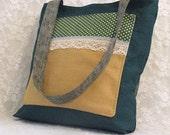 Women Tote bag Women's Messenger Bag Polka Dot Green Mustard  White Lace Women's  Accessories