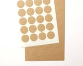 Small Kraft Circle Stickers, Round Stickers, Kraft Paper Stickers, Size 3/4 inch or 19mm, Set of 2 sheets or 72 circles