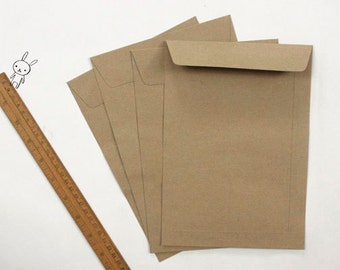 Kraft Paper Envelopes, Brown Paper Bags, size 6.3x9 inches, for A5 notebook, crafts, letterpress - Set of 25