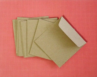 100 Small Brown Kraft Paper Square Envelopes/Bags, 9.5x9.5cm, for Crafts, Packaging, Eco Friendly Packaging