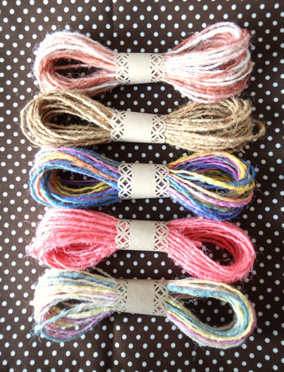 Set of 5 Assort Color Jute Twine / String / Yarn , Pink, Rainbow, Natural - for crafting, gift wrapping, packaging, scrapbooking
