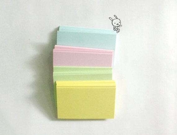 Blank  Business cards/Name cards/Mini Note cards in Pastel Blue, Pink, Green and Yellow size 5.5x9 cm - Set of 40