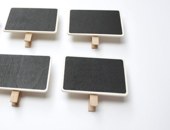 Small Chalkboard / Blackboard  with Wooden Clothespins/Peg attach - Set of 4