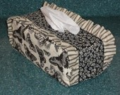 Cream and Black Butterfly / Floral and Striped Ruffle Standard Tissue Box Cover CWW