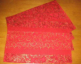 Set of 4 Placemats Place Mats Gold Designs on Red.