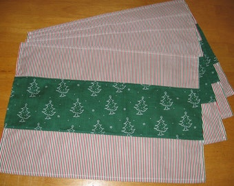 Set of 4 Placemats Place mats White Christmas Trees on Green  and Red, Green, White Stripes