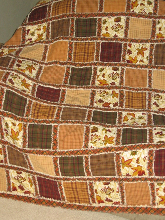 FREE SHIPPING Gently Used Handmade Autumn Fall Traditional Meets Rag Quilt 51 inches by 63 inches