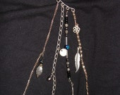 Over the Ear-Ear Cuff, silver chains & charms w/ black, silver and hematite beads (EC6)