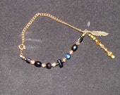 Black and gold beaded BRACELET with gold tone chain (B3)