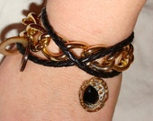 Black braided cord & gold tone chain BRACELET (B14)
