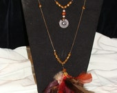 Long gold chains with FEATHERS and charms  (140)