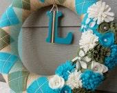 "Spring Wreath - Antique Gold, Aqua and Olive Green 14"" Argyle Wreath, Yarn Wreath"