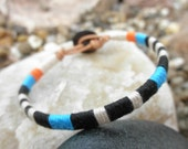 """Embroidery Thread and Leather Bracelet - """"VOX Morse"""""""