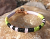 """Embroidery Thread and Leather Bracelet - """"YES Morse"""""""