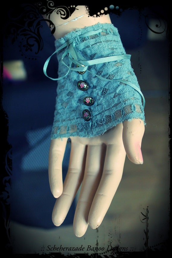 Victorian, tribal fusion belly dance, steam punk lace glovelets with ribbons and buttons
